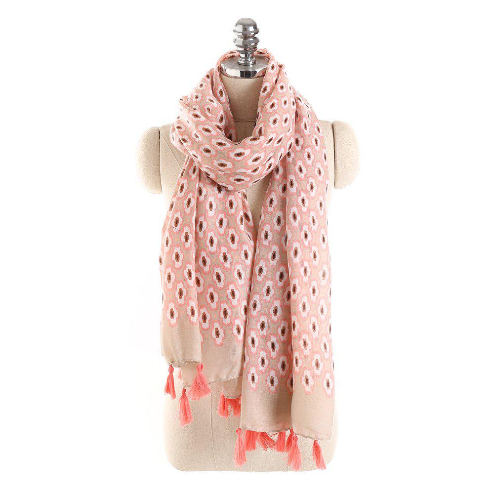 Shop Geometric Figure Personalized Warm Cotton and Hemp Tassel Scarf