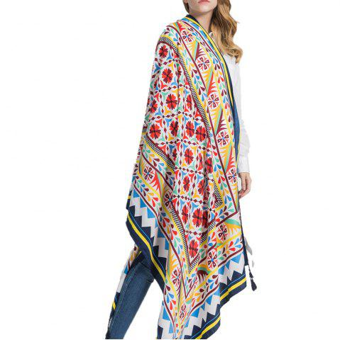 Chic Safflower Geometric Pattern Multifunction Tassel Cotton Linen Scarf
