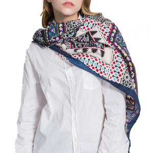 Multifunction Cotton and Hemp Scarf with Geometric Trip Proof -
