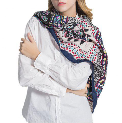 Shop Multifunction Cotton and Hemp Scarf with Geometric Trip Proof