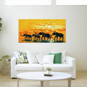 W365 Elephants Unframed Art Wall Canvas Prints for Home Decorations -