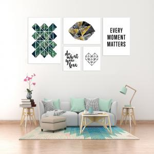 W367 Plants and Letters Unframed Wall Canvas Prints for Home Decorations 5PCS -