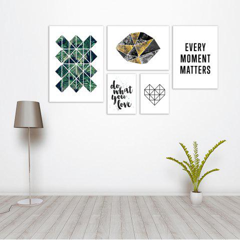 Outfits W367 Plants and Letters Unframed Wall Canvas Prints for Home Decorations 5PCS
