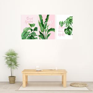 W368 Green Plants Unframed Wall Canvas Prints for Home Decorations 3PCS -