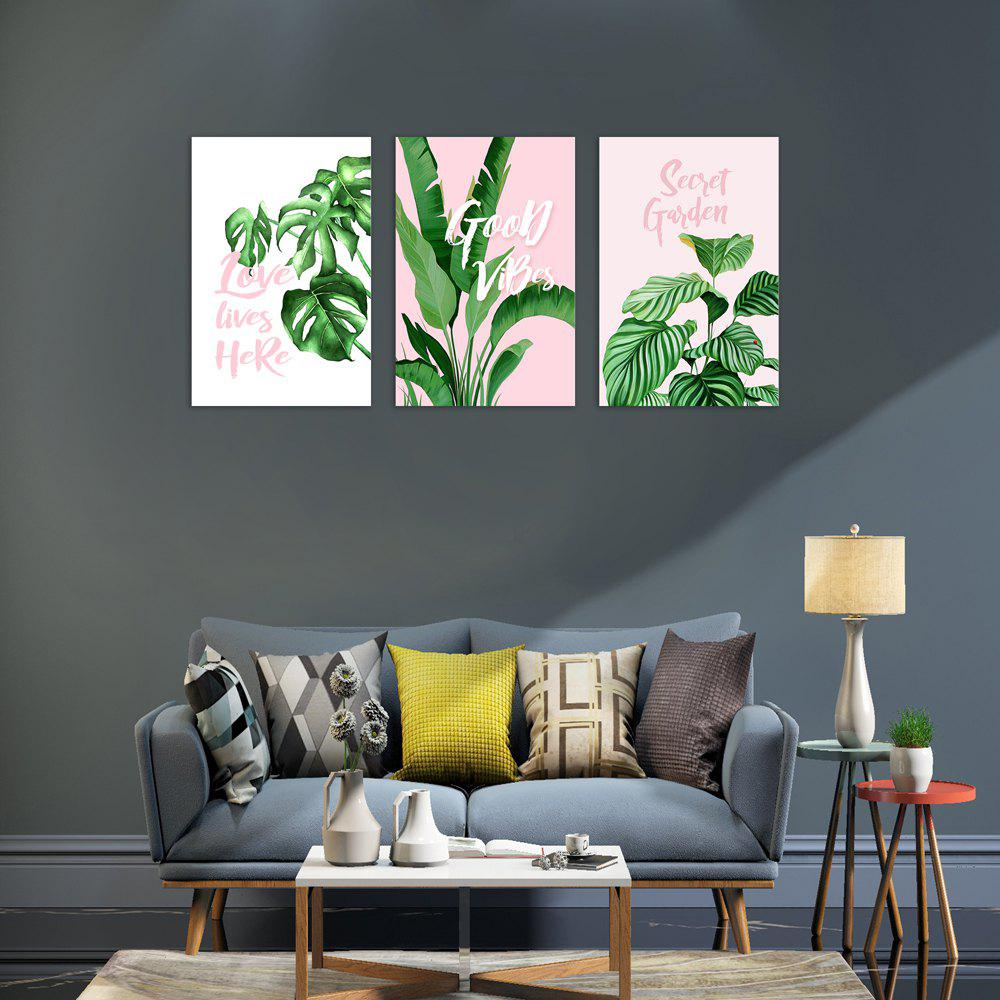 Affordable W368 Green Plants Unframed Wall Canvas Prints for Home Decorations 3PCS