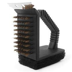Triple Barbecue Grill Brush Copper Steel Cleaning Brushes  Accessories -