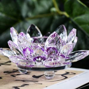 Exquisite Crystal Glass Lotus Candlestick -