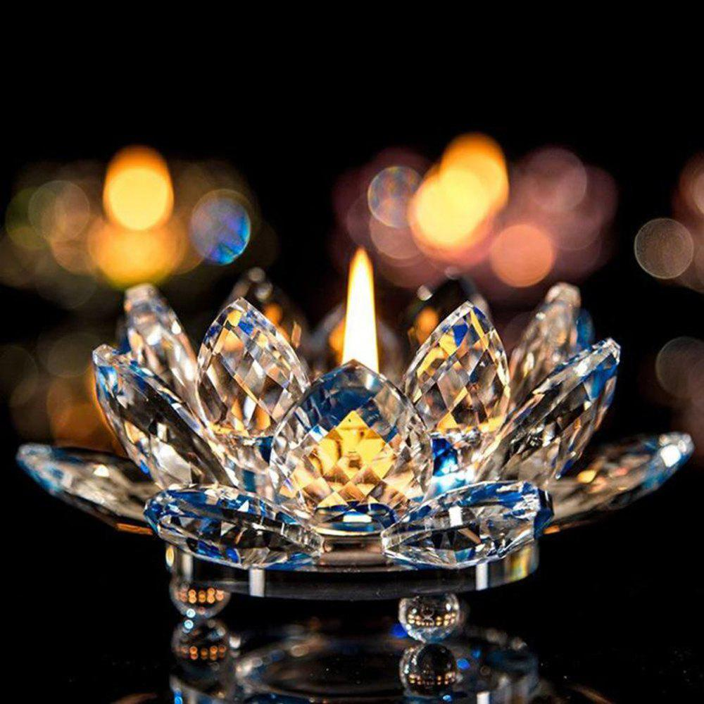 Chic Exquisite Crystal Glass Lotus Candlestick