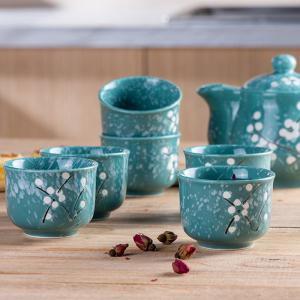 7PCS Sweet Floral Hand Painted Ceramic Teapot Set -