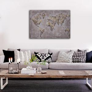 Framed Canvas Bedroom Living Room Wall Abstract Map Decoration Print -