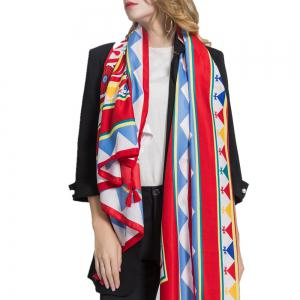 Geometric Pattern Windproof Fringed Scarf -