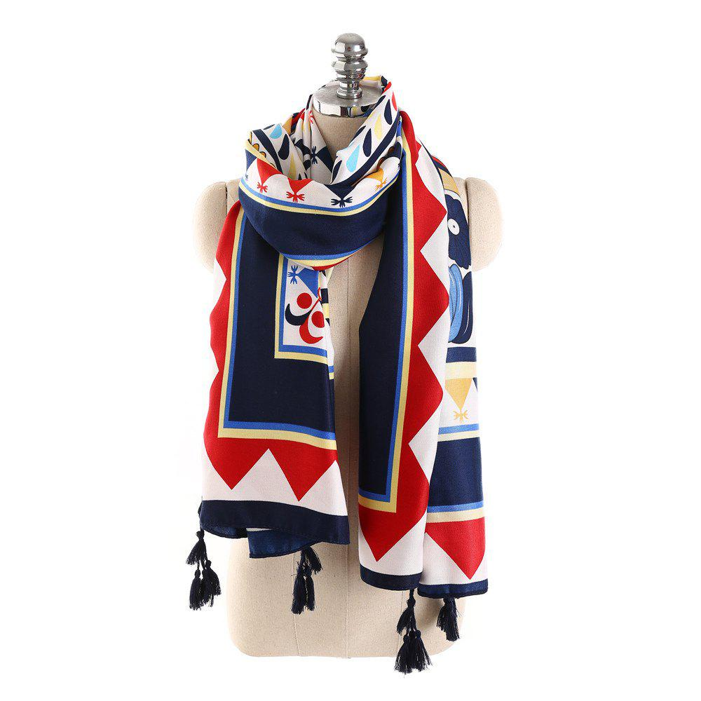 Outfit Geometric Pattern Windproof Fringed Scarf