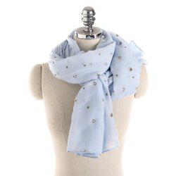 Long and Comfortable Scarf in Small Cotton and Linen Printing -