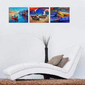 W364 Boats Unframed Art Wall Canvas Prints for Home Decoration 3PCS -