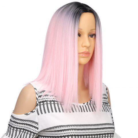 Light Pink Ombre Synthetic Middle Part Straight Short Hair Wigs for Fashion Girl - Light Pink - 12inch