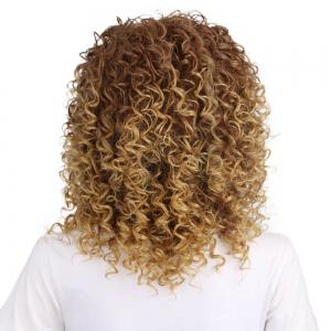 Women Golden Blonde Afro Curly Style Short Hair Synthetic Wig for Party -