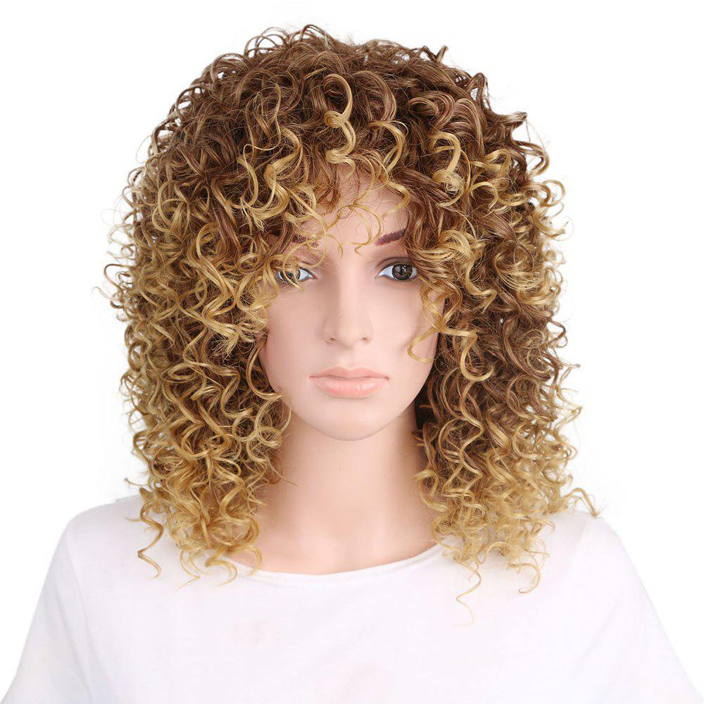 Fancy Women Golden Blonde Afro Curly Style Short Hair Synthetic Wig for Party