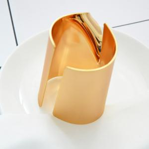 Real Gold Plating Simple Copper Wide Bracelets Open Metal Bangles for Women -