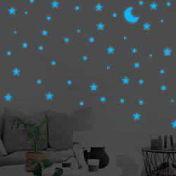 Blue Luminous Stars Moon Wall Stickers Home Decor -