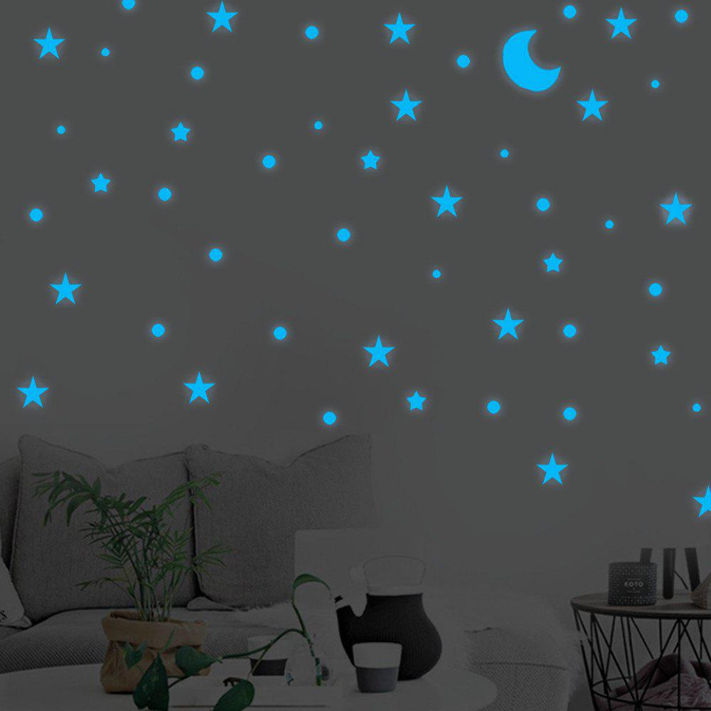 Cheap Blue Luminous Stars Moon Wall Stickers Home Decor