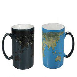 300ML World Map Change Color Cup Discolored In Case of Hot Water -