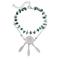 Fashion Hollow-Out Dreamcatcher Turquoise Pendant Beach Anklet -