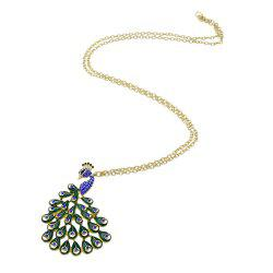 Colorful Peacock Gold-color Rhinestone Imitation Crystal Necklaces -