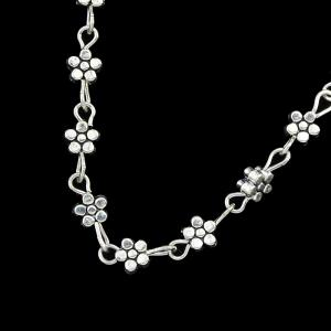 Silver Color Chain Flower Anklets with Heart -