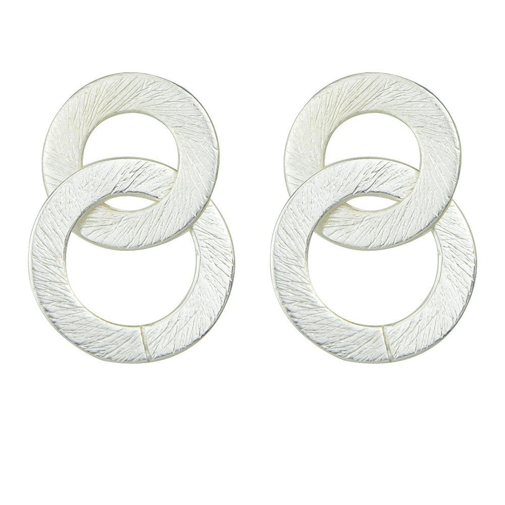 New Punk Rock Style Double Circle Drop Earrings