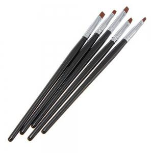 Fingernai Painting Acrylic UV Gel Salon Pen Flat Brush Kit Set Dotting Tool 5PCS -