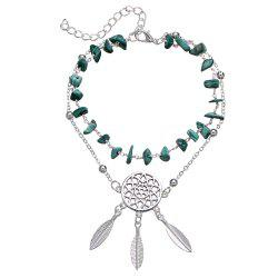 Hollow Dream Catcher Turquoise Bracelet Feather Pendant Anklet -