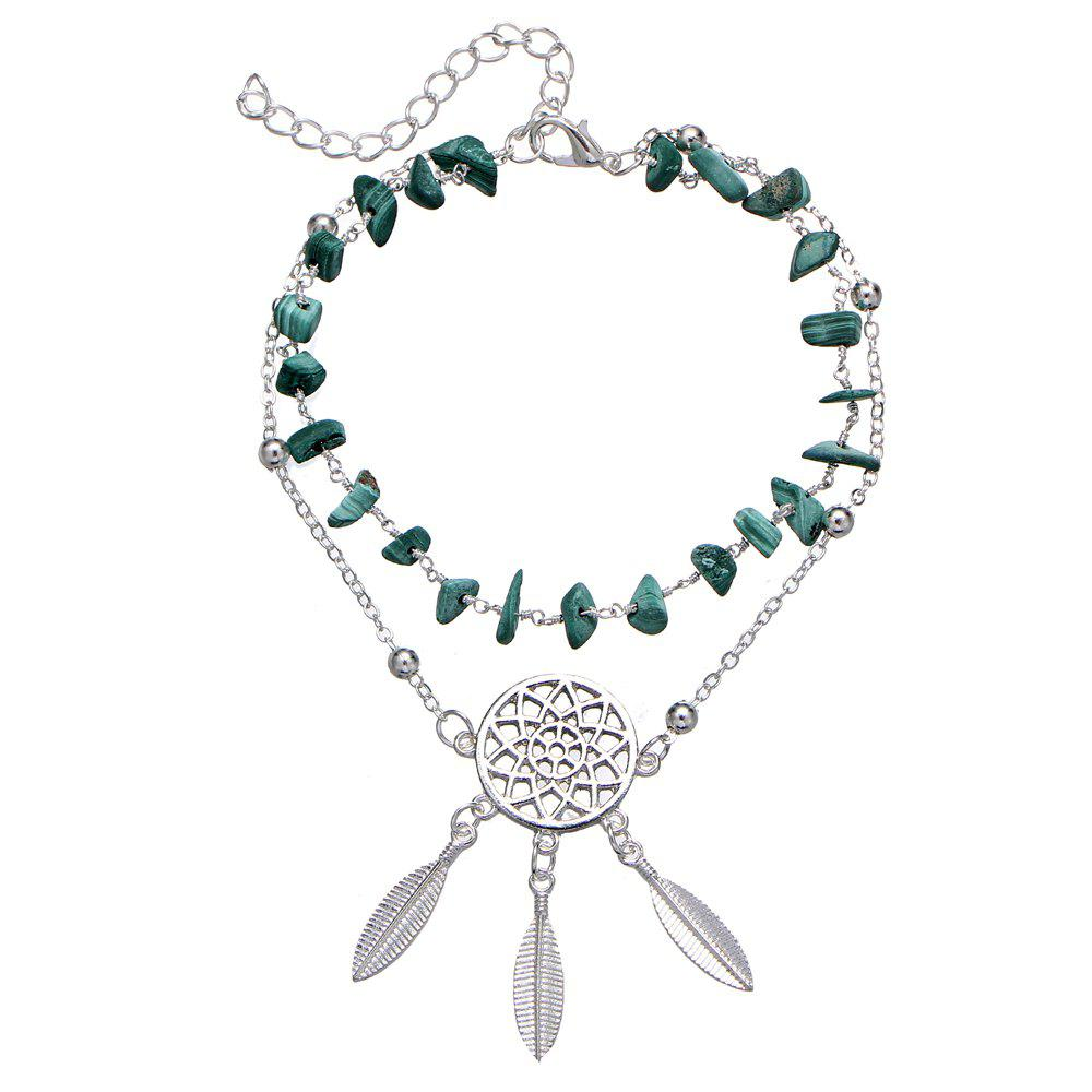 Fancy Hollow Dream Catcher Turquoise Bracelet Feather Pendant Anklet