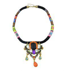 Flower Pattern Rope with Colorful Beads Necklace -