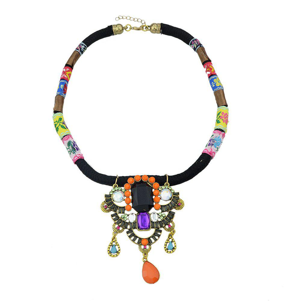 Latest Flower Pattern Rope with Colorful Beads Necklace