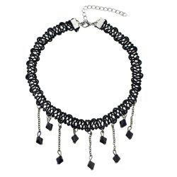 Black Braided Rope Chain Choker Necklace -