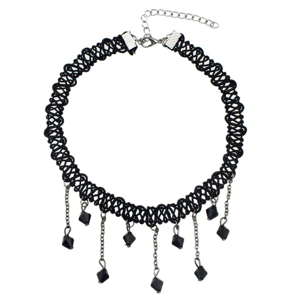 Latest Black Braided Rope Chain Choker Necklace