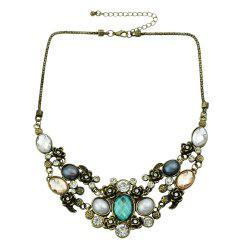Colorful Rhinestone Collares Statement Necklace -