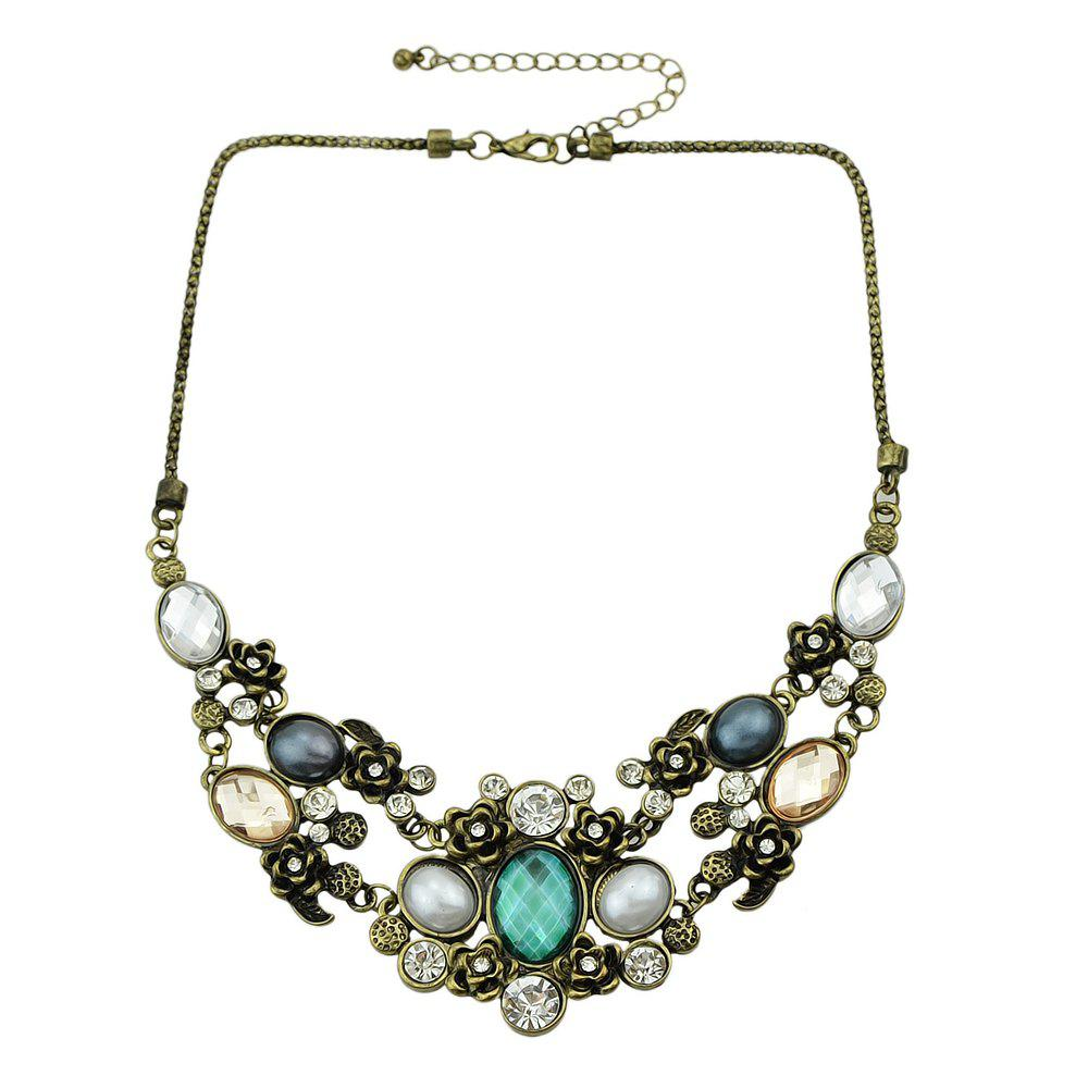 Trendy Colorful Rhinestone Collares Statement Necklace
