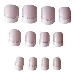 24PCS Light White Short French Finger Nails Covered with Cold Elliptical -
