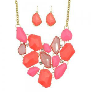 Acrylic Geometric Collar Statement Necklace and Drop Earrings -