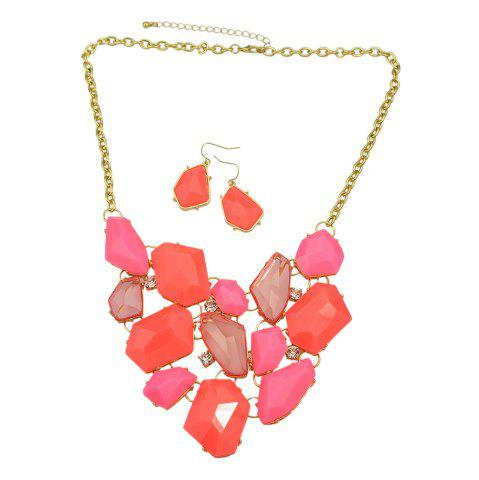 Trendy Acrylic Geometric Collar Statement Necklace and Drop Earrings