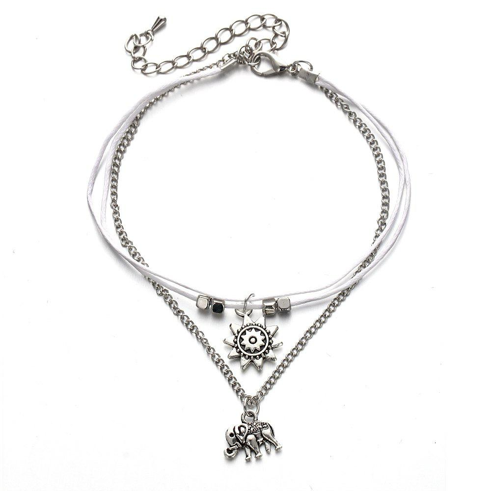Online Elephant Three Layers Vintage Fashion Lady Anklet