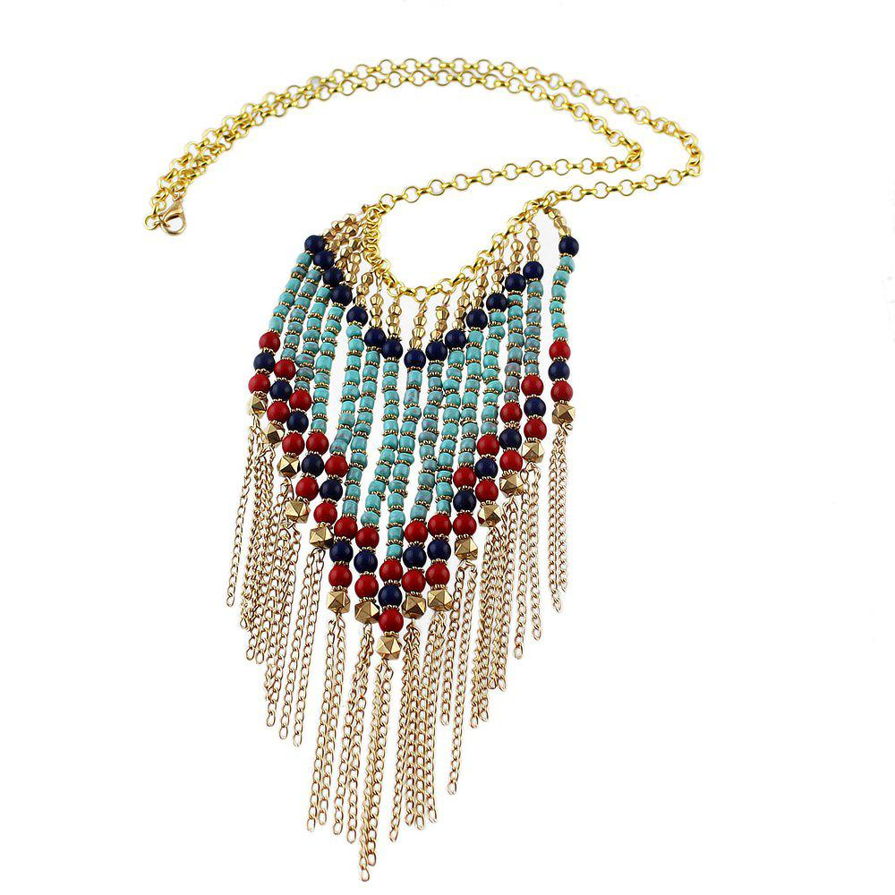 Latest Colorful Beads Tassel Pendant Necklace