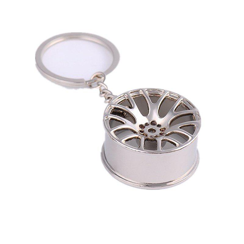 Fancy Wheel Hub Metal Car Keychain