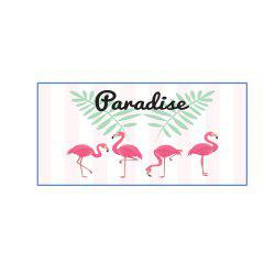 Pink Striped Flamingo Microfiber Digitally Printed Rectangular Beach Towel -