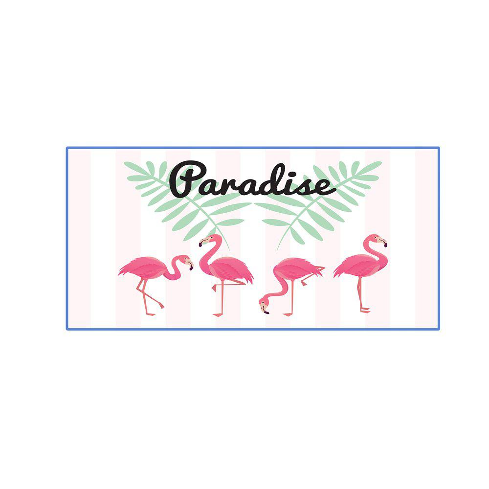 Trendy Pink Striped Flamingo Microfiber Digitally Printed Rectangular Beach Towel