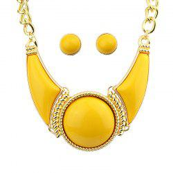 Geometric Exaggeration Resin Necklace and Earrings -