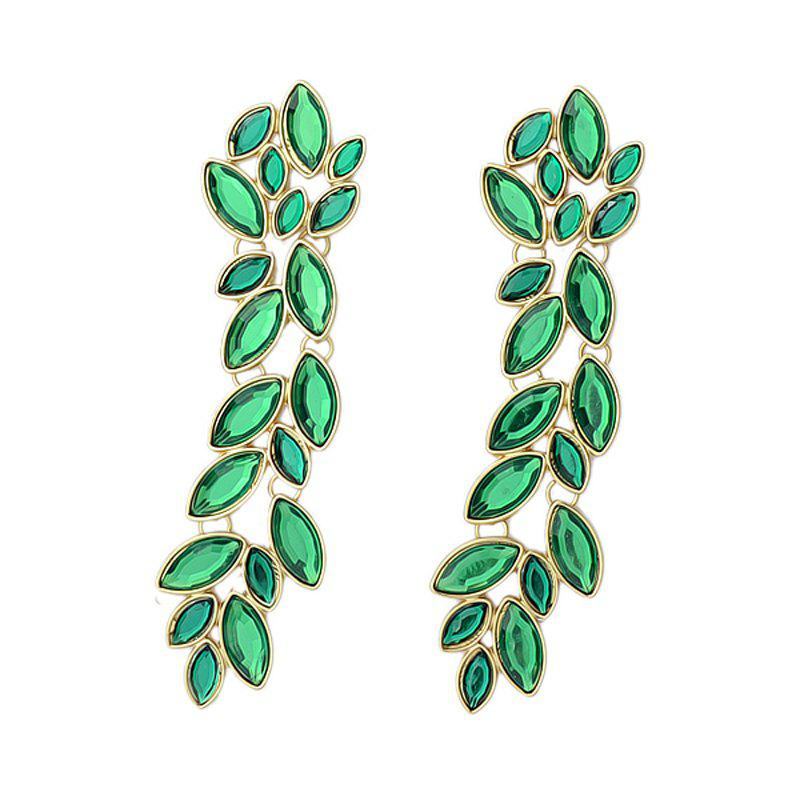 Rhinestone Big Long Leaf Drop Earring, Clover green