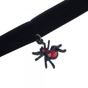 Red Rhinestone Spider Pendant Necklace and Drop Earrings -