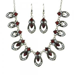 Rhinestone Maxi Collar Necklace and Drop Earrings -